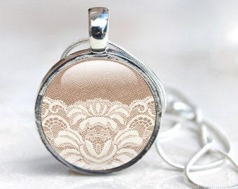 Lace Jewellery -  Lace necklace - Lace pendant - photo jewellery -  photo pendant - Glass Pendant (lace 4), Glass Pendant Necklace