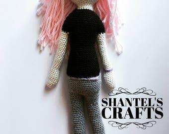 Pastel Goth Crochet Amigurumi Doll Pink Hair