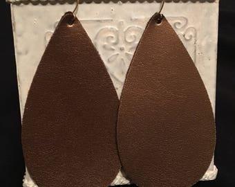 Bronze shiny metallic leather teardrop earrings