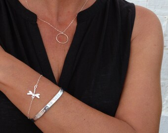 Dragon-fly bracelet, sterling silver, jewelry gifts for friend birthday