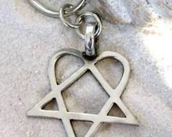 Heartagram Keychain HIM Pewter Key Ring (317-KC)