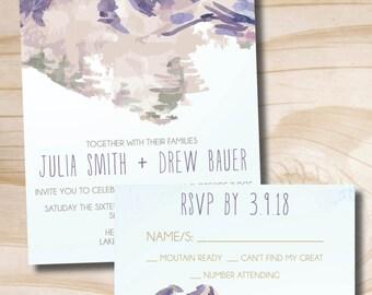 Watercolor Mountain Wedding Invitation Response Card Invitation Suite
