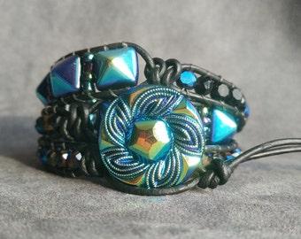 Czech Glass Bracelet, Czech Glass Button Bracelet, Czech Glass Button Jewelry, Iridescent Blue Czech Glass Button, Gift for Girlfriend