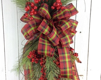 Berry Swag, Red Door swag, Christmas Swag, Winter Swag, Natural pine swag, Christmas Door Swag, Christmas Berry Wreath, Christmas Berry Swag