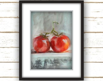Two Tomatoes Painting Print - Original Fine Art Still Life Painting Print