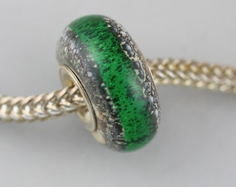 Small Old Earth Green - Classic Remake - (OE) - Artisan Glass Charm Bracelet Bead - (JUN-65)