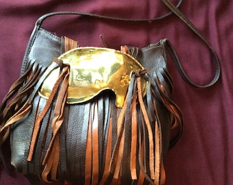 Repurposed Brown Leather and Brass Buckle Cross Body Hand Bag