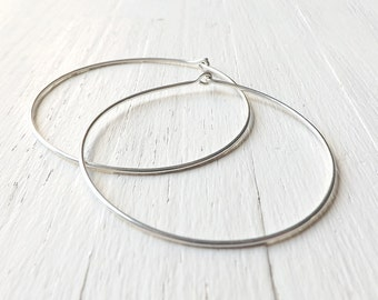 Extra Large Sterling Silver Hoop Earrings, 2 Inch Silver Hoops, Hammered Hoop Earring Womens gift, Mother Gift, Mothers Day gift Wife gift