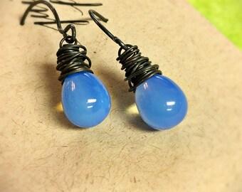 Periwinkle Blue Earrings, Sky Blue Glass Earrings, Sapphire Blue Opal Earrings, Czech Glass, Oxidized Sterling Silver, Wire Wrapped Teardrop