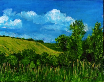 Original Landscape Painting,Country Landscape, Acrylic Painting ,Small Original Artwork, Summertime, Countryscape, Fields,Clouds,Room Decor