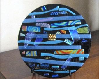 Dichroic glass, art glass, glass sculpture, home decor, table top decor, glass art, turquoise glass, stripes, fused glass, original design,