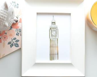 Gold Foil Big Ben (8x10 or 5x7), London Print, Big Ben Clock Tower, England Art, Missionary Gift, London Skyline, Big Ben Art