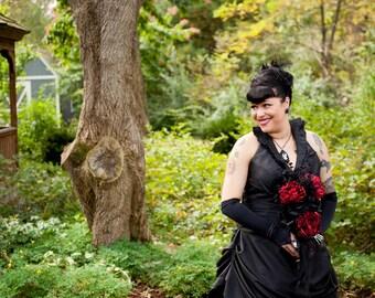 Black Wedding Dress in Taffeta with Halter Neckline Custom Handmade Gothic Bridal Gown