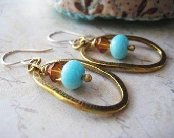 Amazonite Earrings, Peru Amazonite, Mixed Metal Earrings, Sterling Silver, Hoop Style, Artisan Brass, Boho Style, Bohemian Earrings,
