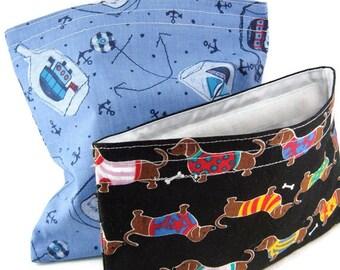 Sandwich + snack bags set, reusable sandwich bag, reusable snack bag, reusable lunch bags, child gift set, eco friendly, food storage pouch
