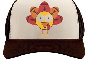 Thanksgiving Football Turkey Funny Holiday Trucker Hat Mesh Cap