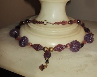 Art Nouveau Carved Amethyst Crystal Pendant Necklace