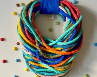 Hand knitted infinity scarf candy colorful