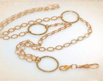 Convertible Gold Eyeglass Necklace or ID-Badge Holder. Eyeglass Chain - ID Lanyard. Also Available in Silver