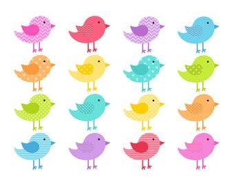 Birds Clipart Bright, Birds Digital Clip Art, Cartoon Bird, Rainbow Clipart, Instant Download, Commercial Use