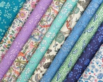 10 Liberty Tana Lawn - quilt scraps- 5''x5'' - CAPEL + Birds,Ducks, Dinosaurs, Hedgehogs, Squirrels prints