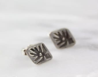 Stamped Native Bird Silver Post Earrings