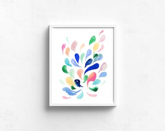 Abstract Watercolor Art Giclee Print - Live Life Like a Vacation I