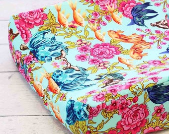Marina's Mermaid Changing Pad Cover | Pink and Aqua Floral Changing Pad Cover | Pink, Turquoise, Bright | Floral Mermaid Nursery Decor