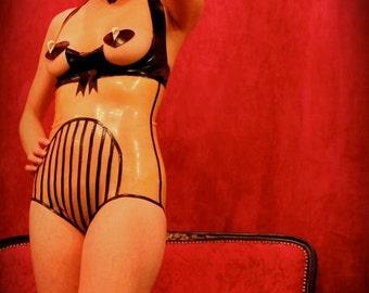 High waist striped latex panty