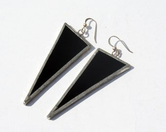 EARRINGS -  Black Triangle Earrings - Stained Glass Earrings - Statement Earrings - Minimalist Earrings