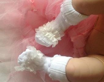 Zeeda Baby Girl Dress Christening Socks White Frills w/ Pearls Diamantes Detail 0-12 months