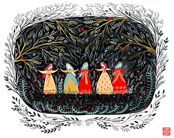 Five Dancing Princesses art print