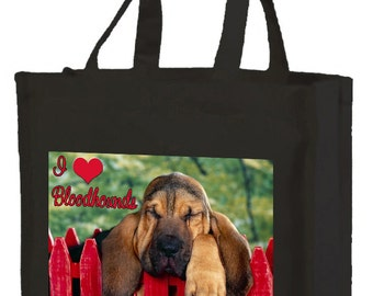 I Love Bloodhounds Cotton Shopping Bag with gusset and long handles, 2 colour options