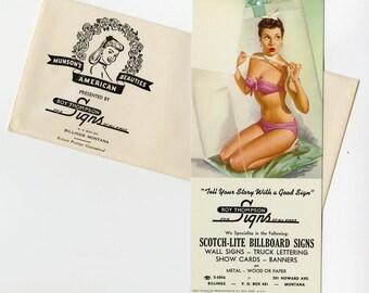 1940s Cheesecake Pin Up Vintage Montana Advertising Bikini Bathing Beauty Old Unused KO Munson Ink Blotter  Original Mailing Envelope