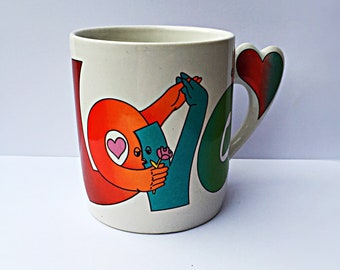 Retro 1980s Kissing Love Mug - Valentines Coffee Cup - Vintage Home Kitchen Decor- The Love Mug-D286724