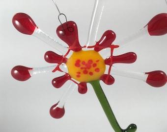 Red Fused glass Flower suncatcher