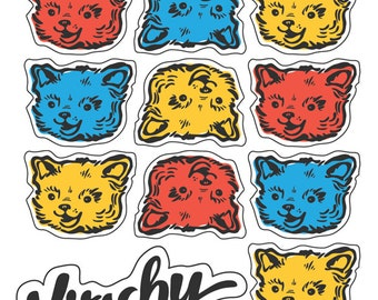 Kitschy Cat Sticker Sheet With 15 Colorful, Peel-Off, Retro Cat Stickers on 4 X 6 Inch Sheet