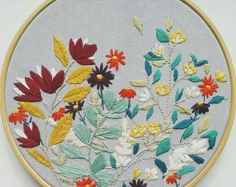 """Autumn Blue - 8"""" Embroidery Hoop"""