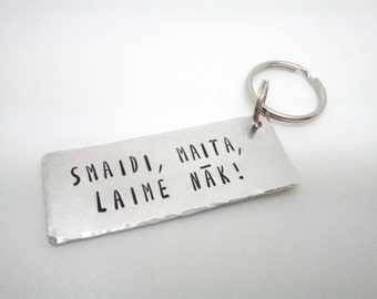 Keyring with text in Latvian, Latvia collection keychain, funny Latvian saying,  gift, Valentines
