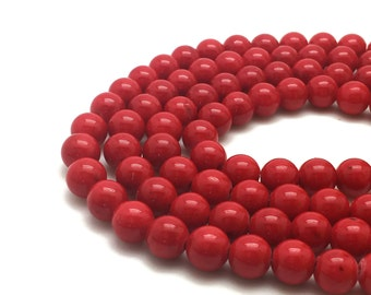 """Red Mashan Jade Beads 4∼10mm Strand 15.5""""-38cm Red Candy Jade Red Mountain Jade Red Jade Red Mashan Stone"""