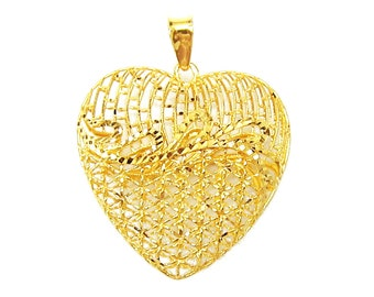 Limited Edition - 18K 21K 22K Yellow Gold Full Of Love Pendant Necklace Gift Jewelry for Her
