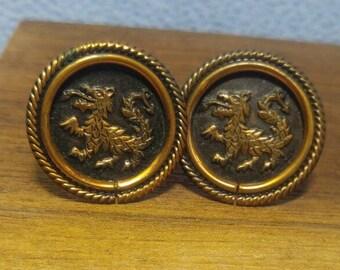 Vintage Copper Dragon Cuff Links Cufflinks