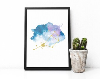 Seven sisters of Pleiades , Constellation print, Printable art, Watercolor print, Blue and gold