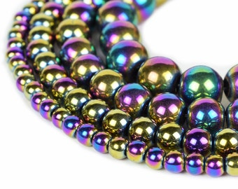 "Rainbow Hematite Beads 4mm 6mm 8mm 10mm Loose Gemstone Round 15.5"" Full Strand Wholesale"