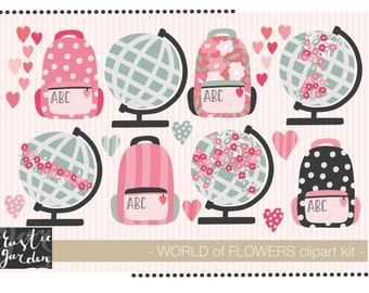 SCHOOL SUPPLIES geography clipart. Globes, backpack, heart clip art for teacher cards, invitations, wall art.
