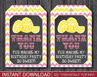 Lemonade Birthday Favor Tags - Pink Lemonade Thank You Party Favor Tags - Printable Digital File - INSTANT DOWNLOAD