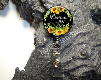 Sunflowers Retractable Badge Holder,Personalized Badge Reel,Monogram Badge Reel,Monogram Badge Holder,Monogram Stethoscope Id Tag -Style 818