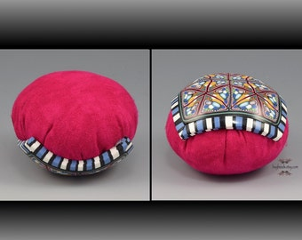 Polymer Clay Pincushion, Handmade, Fuchsia Pink, Multicolor