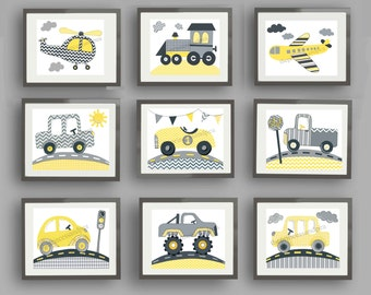Yellow grey cars trucks transportation wall art decor kids art prints -set of 4