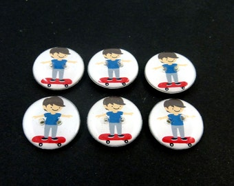 "Boy on Skateboard Buttons.  Set of 6 handmade skateboarding sewing buttons. 3/4"" or 20 mm.  Washer and dryer safe."